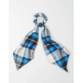 AEO Blue Flannel Bow Scrunchie