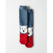 AEO Fuzzy Animal Face Crew Sock