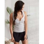 Aerie Real Soft Ribbed Henley Tank