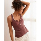 Aerie Ribbed Henley Tank