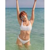 Aerie Jacquard Wide Strap Scoop Bikini Top