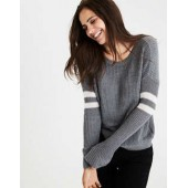 AEO Double-Striped Varsity Sweater