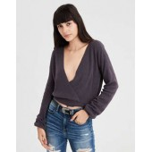AE Cropped Surplice Sweater