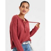 AE Chunky Lace-Up Pullover Sweater