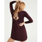 AE Soft & Sexy Bell Sleeve Lace Up Shift Dress