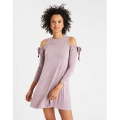 AE Soft & Sexy Knit Drawstring Cold Shoulder Top