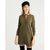 AE Cutout Lace-Up Sweatshirt Dress