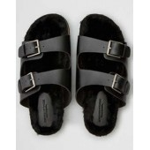 AEO Fur Double Buckle Sandal