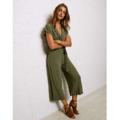 Don't Ask Why Collar Tie Waist Knit Jumpsuit