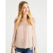 AE Shine Striped Off-the-Shoulder Top