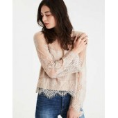 AE Mixed Media Tiered Lace Top