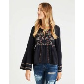AE Embroided Bell-Sleeve Peasant Top