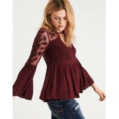 AE Embroidered Mesh Bell-Sleeve Top