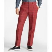 Regent Fit Windowpane Linen Trousers