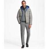 Plaid Water Repellent Wool Short Puffer Coat