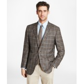 Madison Fit Saxxon Wool Brown with Blue Windowpane Sport Coat