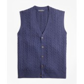 Merino Wool Cable Button-Front Vest