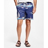 Montauk 6 Sailboat Print Swim Trunks