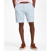 Patchwork Seersucker Bermuda Shorts