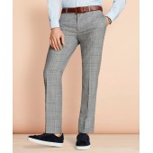Windowpane Wool Suit Trousers