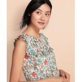 Ruffled Floral-Print Chiffon Top