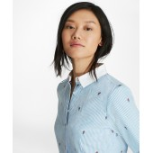 Rose-Patterned Striped Cotton Dobby Shirt