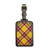 Yellow, Red and White Plaid Luggage Tag