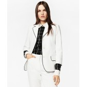 Tipped Stretch Cotton Pique Three-Quarter Sleeve Jacket