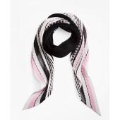 Pleated Sheer Stripe Silk Oblong Scarf