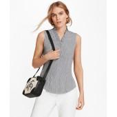 Non-Iron Dot-Print Supima Cotton Ruffle-Collar Blouse