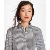 Non-Iron Tailored-Fit Striped Cotton Golf-Collar Shirt