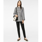 Water-Repellent Gingham Double-Breasted Jacket