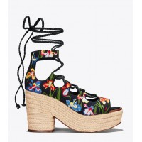 POSITANO EMBROIDERED LACE-UP PLATFORM ESPADRILLE