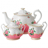 Royal Albert New Country Roses 3-Piece Tea Set in Cheeky Pink
