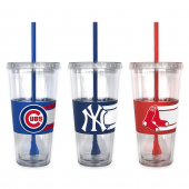 MLB Double Wall Hype 22 oz. Tumbler with Lid & Straw