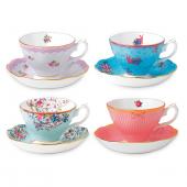 Royal Albert Candy Teacups and Saucers (Set of 4)