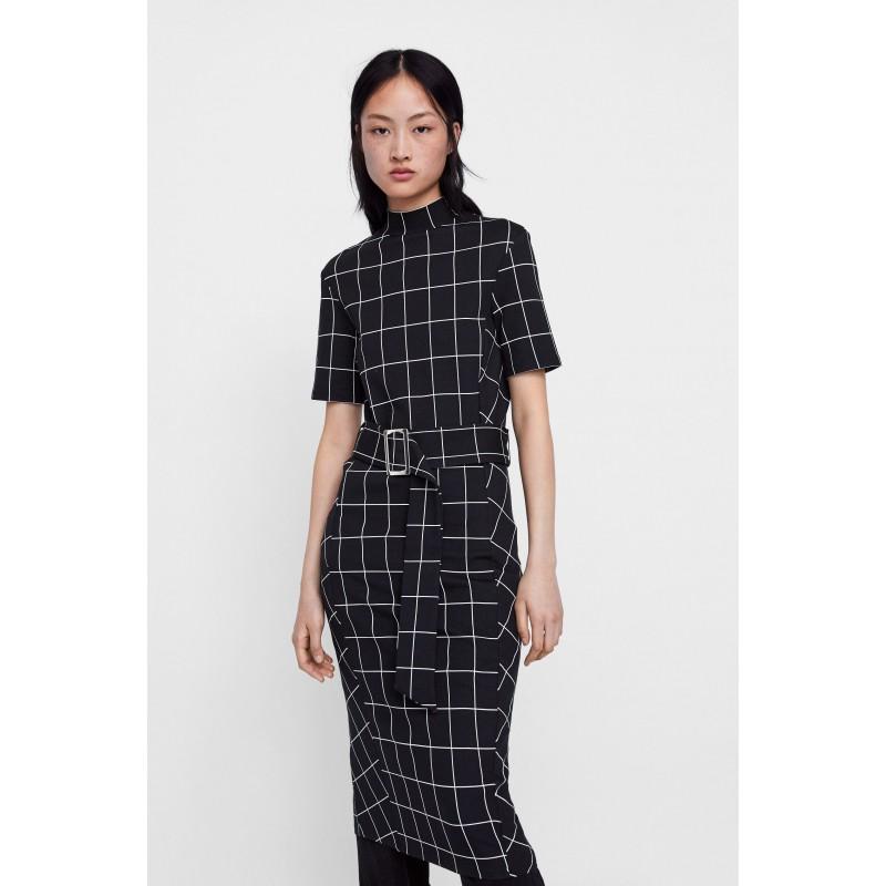 [자라] BELTED PLAID DRESS
