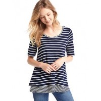 Maternity double-layered nursing tee