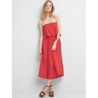 Tie-belt strapless dress