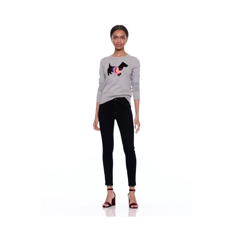Crazy stripe dog graphic pullover sweater