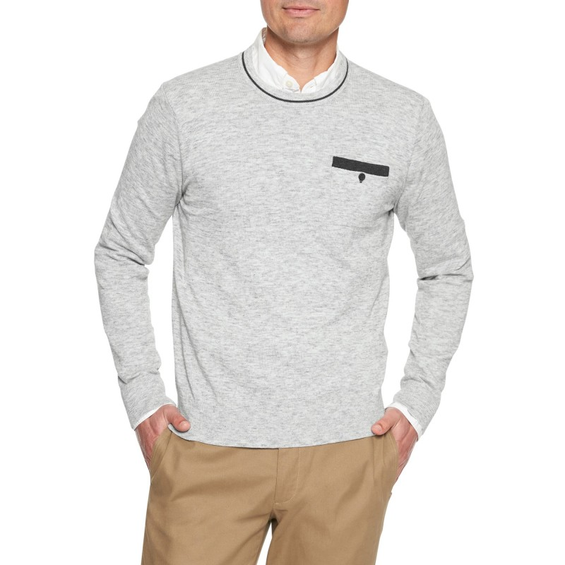 Long Sleeve Space Dye Heather Pocket Crew Sweater