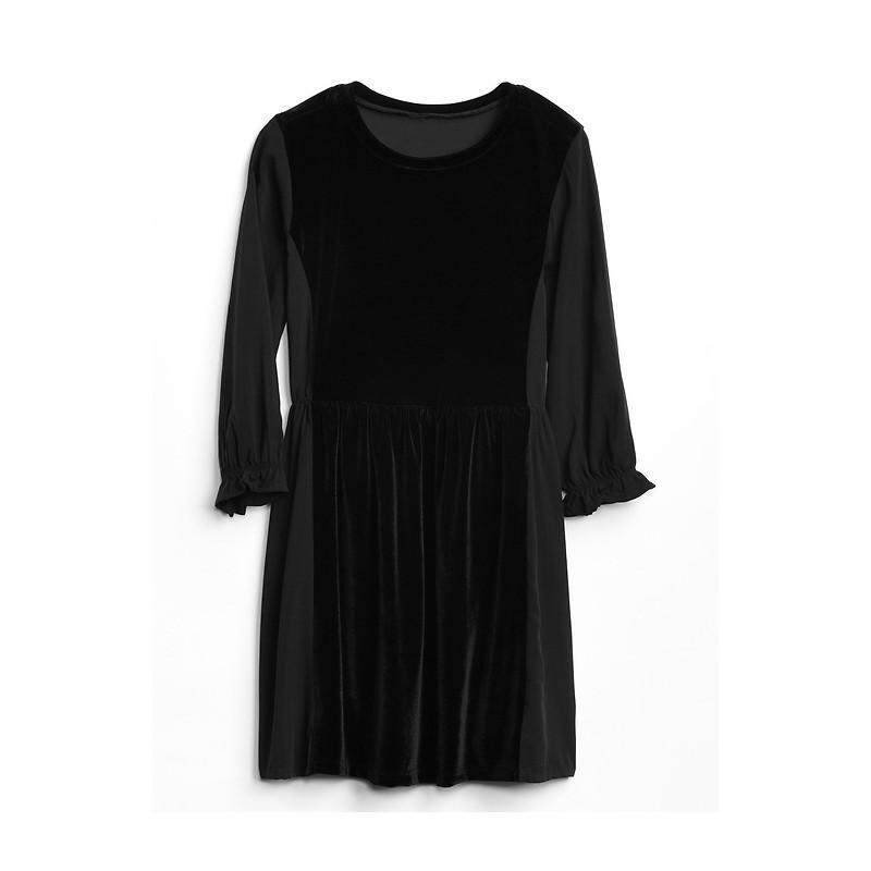 Velvet Cinched-Waist Dress