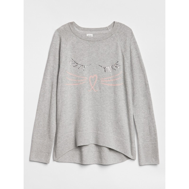 Embellished Cat Pullover Sweater