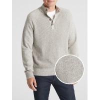 Textured Mockneck Pullover Sweater in Cotton Blend