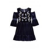 Embroidered Cold Shoulder Dress & Necklace (Big Girls)