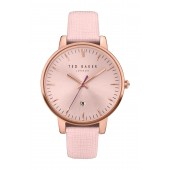 Womens Three Hand Date Rose Gold Pink Strap Watch, 40mm