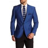 Blue Two Button Notch Lapel Trim Fit Sport Coat
