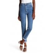 Cuffed Hem Straight Leg Jeans