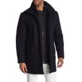 Double Mock Wool Blend Neck Coat