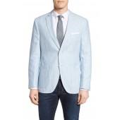 Trim Fit Stripe Linen & Cotton Sport Coat